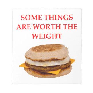 breakfast sandwich notepad