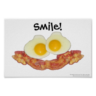 Breakfast Smilie Face by Clara Chandler Posters