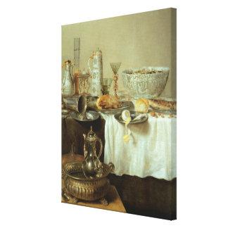 Breakfast Still Life, 1638 Canvas Print