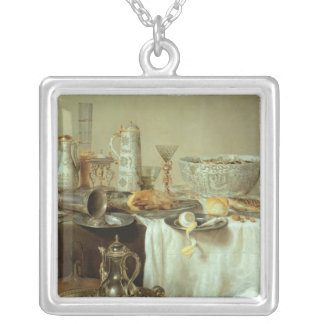 Breakfast Still Life, 1638 Silver Plated Necklace