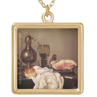 Breakfast Still Life (oil on panel) Gold Plated Necklace
