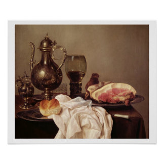 Breakfast Still Life (oil on panel) Poster