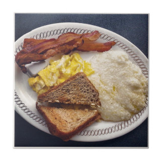 Breakfast Time - Bacon Eggs Toast Grits Tile