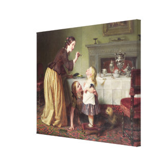Breakfast Time - Morning Games (oil on canvas) Canvas Print