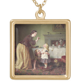 Breakfast Time - Morning Games (oil on canvas) Gold Plated Necklace