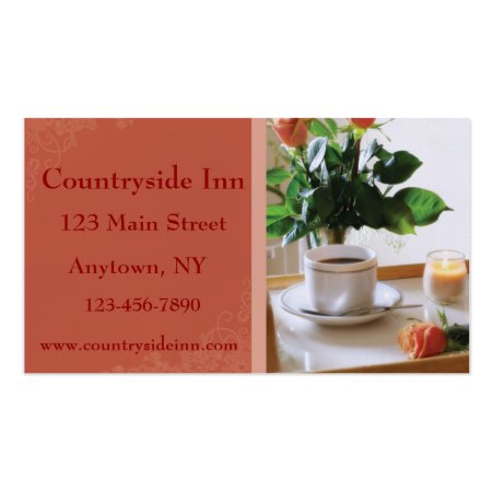 Breakfast Tray Coffee and Roses B&B Business Cards