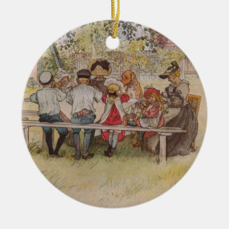 Breakfast Under the Big Birch Double-Sided Ceramic Round Christmas Ornament