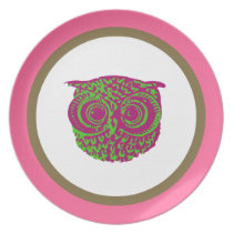 Breakfast with an owl melamine plate