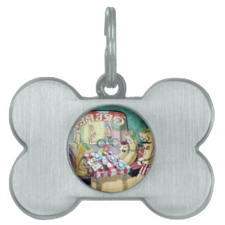 Breakfast with Family of Pancakes Pet Name Tags