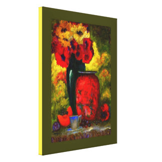 Breakfast With Poppies Painting by Sharles Canvas Print