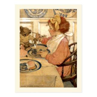 Breakfast With Teddy Bear Postcard