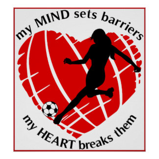 Breaking Barriers Lady Soccer Poster