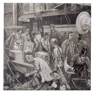 Breaking Bulk on Board a Tea Ship in the London Do Ceramic Tile