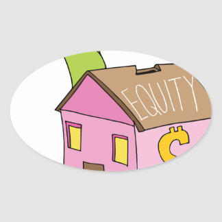 Breaking Home Equity Piggy Bank Oval Sticker
