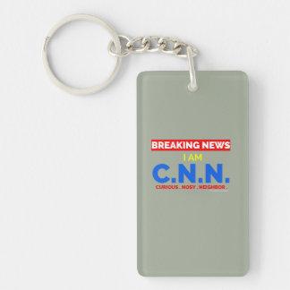 Breaking News: I am Curious Nosy Neighbor (C.N.N.) Keychain