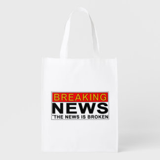 breaking news reusable grocery bag