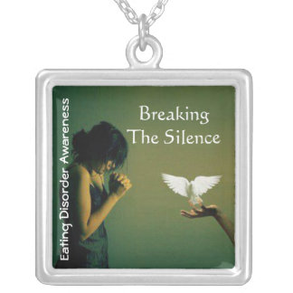 Breaking the Silence©-Eating disorder awareness2 Square Pendant Necklace