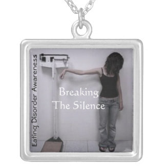 Breaking the Silence©-Eating disorder awareness Square Pendant Necklace