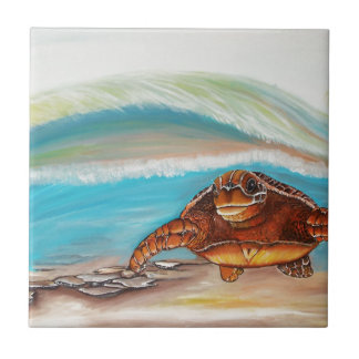 Breaking the Water's Crest Sea Turtle Tile