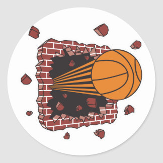 breaking through bricks basketball classic round sticker