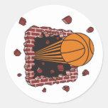 breaking through bricks basketball round sticker