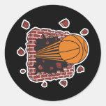 breaking through bricks basketball round stickers
