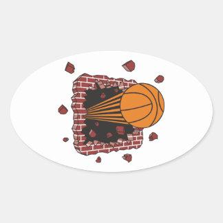 breaking through bricks basketball slam oval sticker