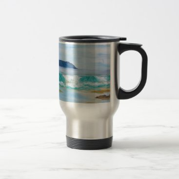 Breaking Wave by KatGibsonArt - love the beach! Travel Mug