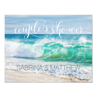 Breaking Waves Beach Couple's Wedding Shower Card
