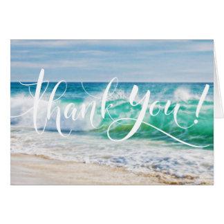 Breaking Waves Beach Wedding Thank You Card