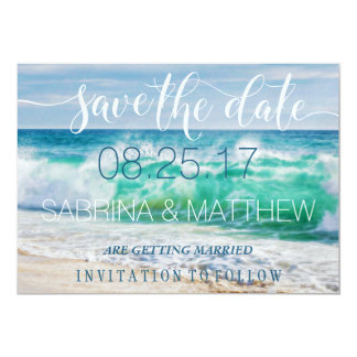 Breaking Waves Destination Beach Save the Date Card