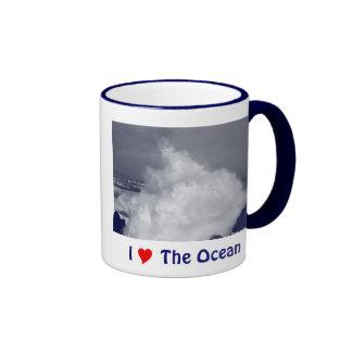 Breaking waves ringer coffee mug