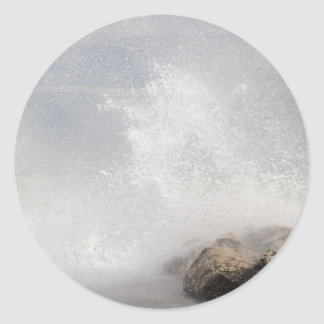 Breaking waves on rocks on the Adriatic Sea. Classic Round Sticker
