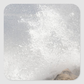 Breaking waves on rocks on the Adriatic Sea. Square Sticker