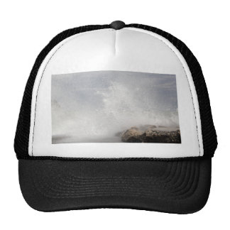 Breaking waves on rocks on the Adriatic Sea. Trucker Hat