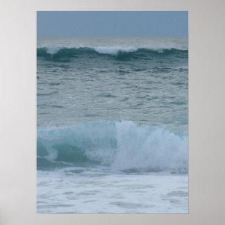 Breaking waves surf poster