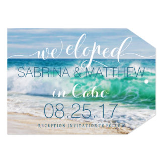 Breaking Waves Tropical We Eloped Wedding Card