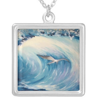 Breaking waves with seagull square pendant necklace