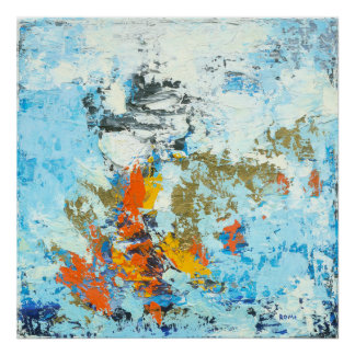 Breakthrough - Blue & Orange Abstract Art Poster