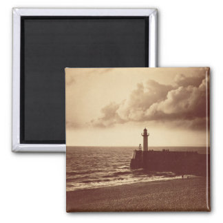 Breakwater at Sete, c.1855 (albumen print from a c 2 Inch Square Magnet