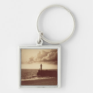 Breakwater at Sete, c.1855 (albumen print from a c Silver-Colored Square Keychain