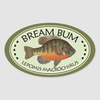 Bream Bum Fishing Oval Sticker