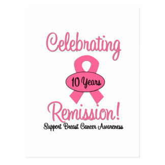 Breast Cancer 10 Year Remission Postcard