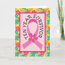 Breast Cancer 10 Year Survivor Pink Ribbon Card