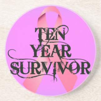 Breast Cancer 10 Year Survivor Ribbon Sandstone Coaster