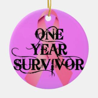 Breast Cancer 1 Year Survivor Ceramic Ornament