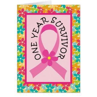 Breast Cancer 1 Year Survivor Pink Ribbon Card