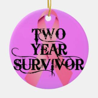 Breast Cancer 2 Year Survivor Ceramic Ornament