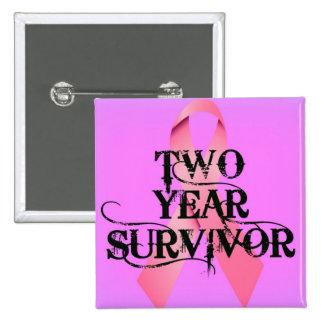 Breast Cancer 2 Year Survivor Pinback Button