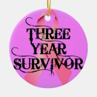 Breast Cancer 3 Year Survivor Ceramic Ornament